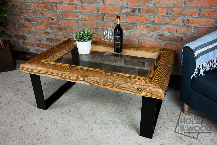 Ogromny Stolik kawowy drewniany ze starego drewna, stali i szkła Chomuk NI54