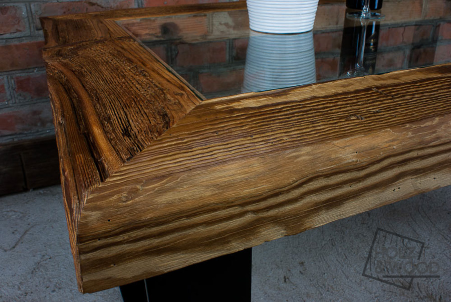 Stolik Kawowy Drewniany Ze Starego Drewna Stali I Szkła Chomuk